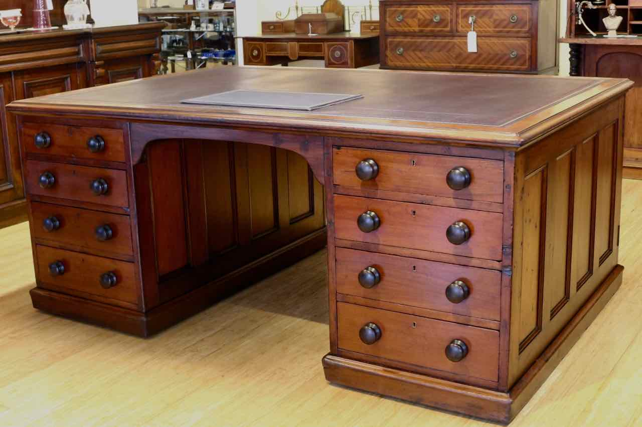 Antique Partners Desk Inexpensive Writing Desk