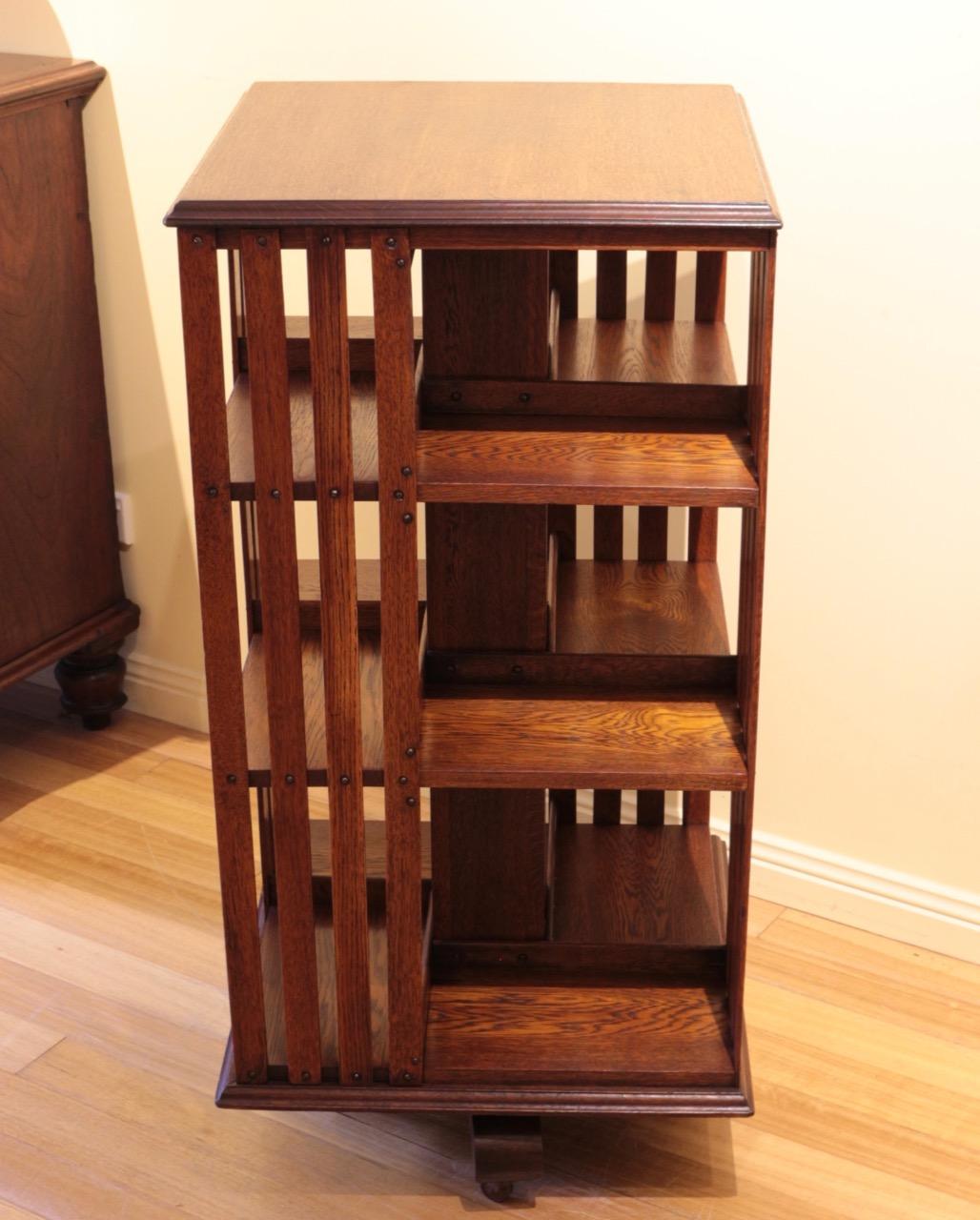Rotating Bookshelves: American Oak Revolving Bookcase