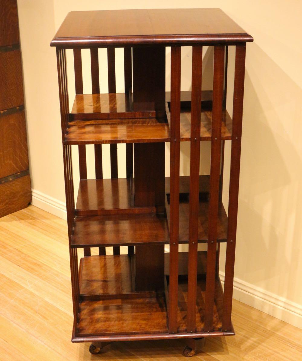 Rotating Bookshelves: Antique Tasmanian Blackwood Revolving Bookcase
