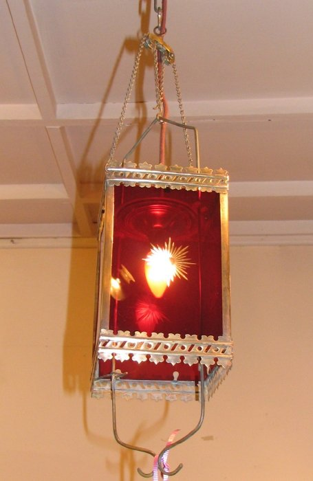 Victorian Brass Amp Ruby Glass Hanging Hall Light The