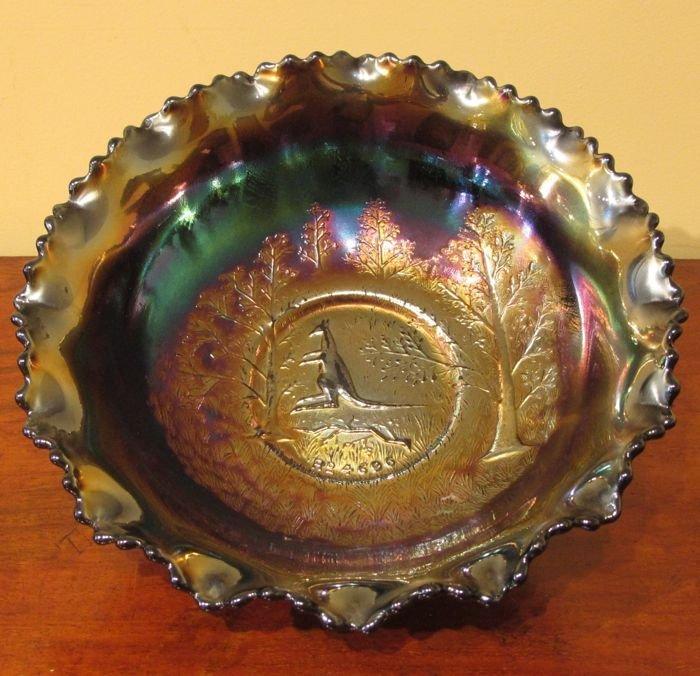 Australian Carnival Glass Kangaroo Master Bowl The